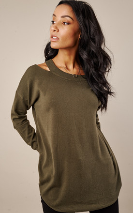Khaki Cold Shoulder Jumper by Lilah Rose