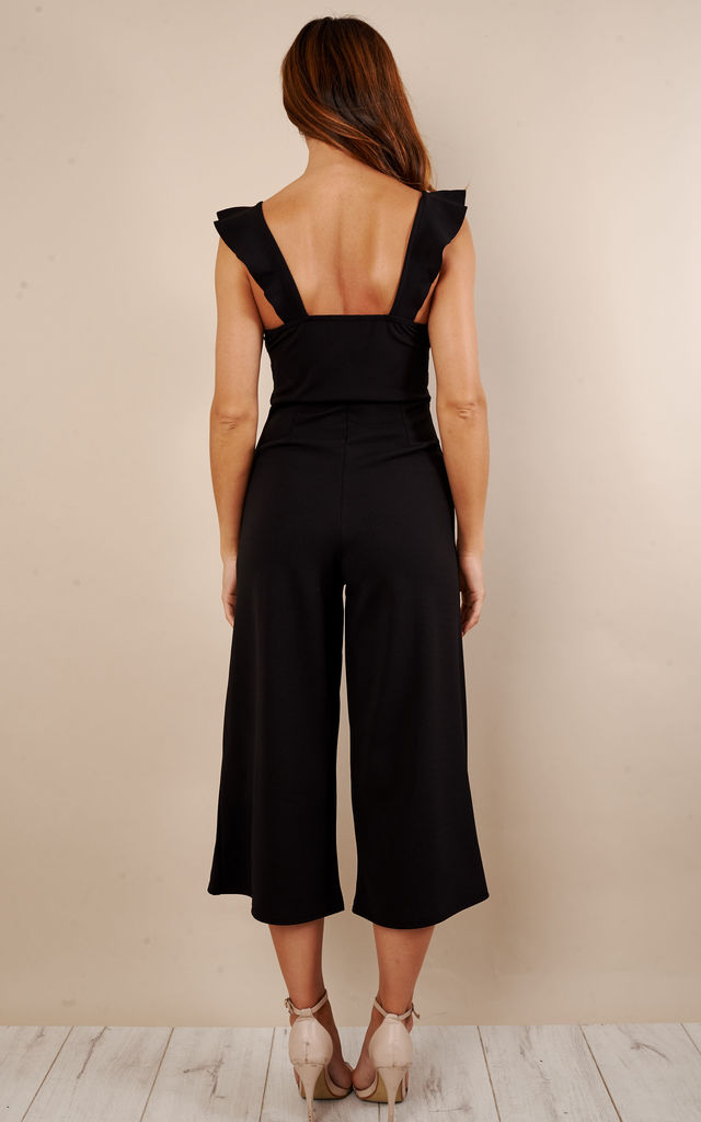 Black Culotte Frill Jumpsuit by Lilah Rose