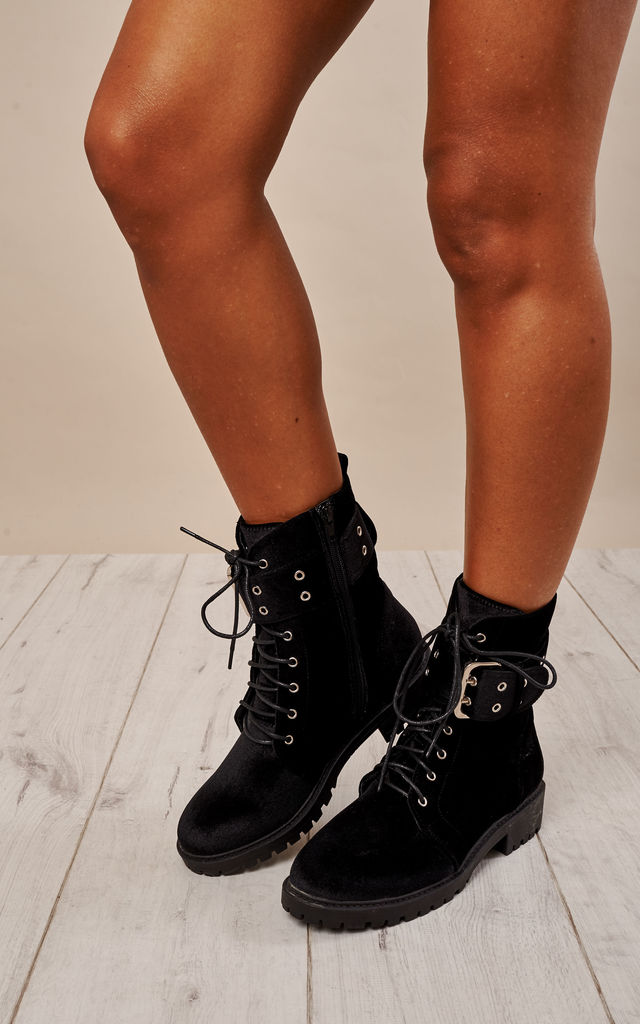 Black Lace Up Boots by Glamorous