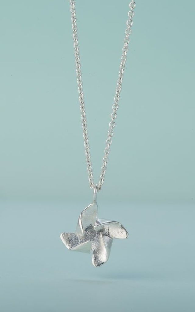 Pinwheel Charm Necklace in Sterling Silver by Posh Totty Designs