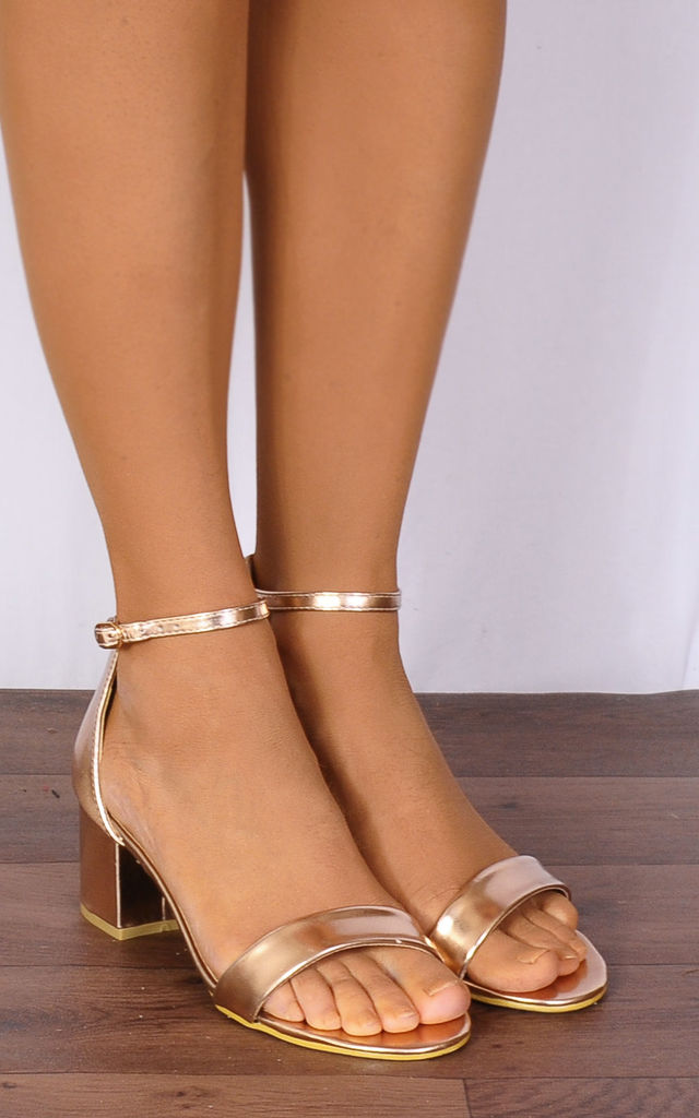 a43c652ef132 Rose Gold Metallic Barely There Low Heeled Strappy Sandals by Shoe Closet