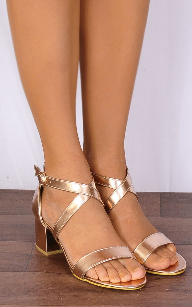 Rose Gold Metallic Barely There Low Heeled Strappy Sandals by Shoe Closet