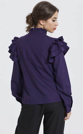 PURPLE DOUBLE FRILL SLEEVE SHIRT by Madam Rage