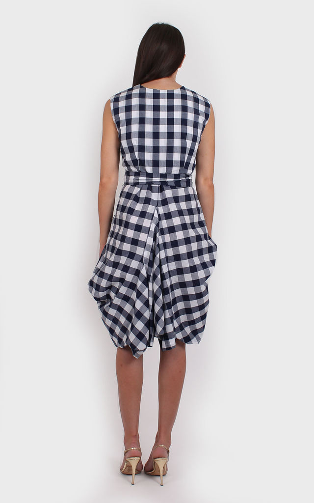 Navy Gingham Wrap Dress by Bullet