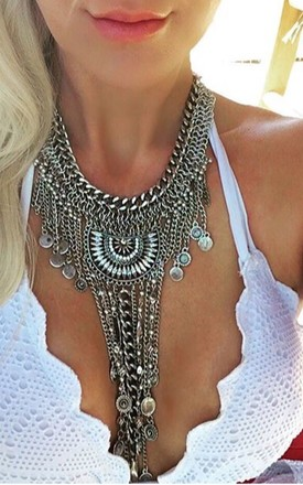 Starla silver multi strand crystal statement necklace by Lovelock jewels