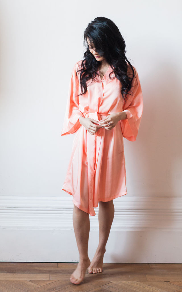 Peach Dressing Gown Wedding Honeymoon Hen by Matchimony