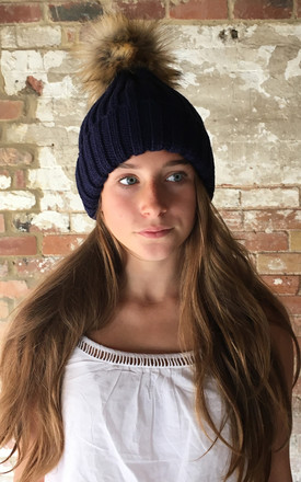 Navy Faux Fur Pompom Hat by White Leaf Product photo