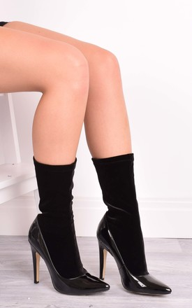 Emily Black Velvet Sock Ankle Boots by Solewish