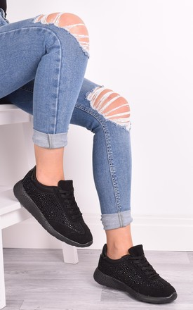 Krista Black Diamante Lace Up Trainers by Solewish