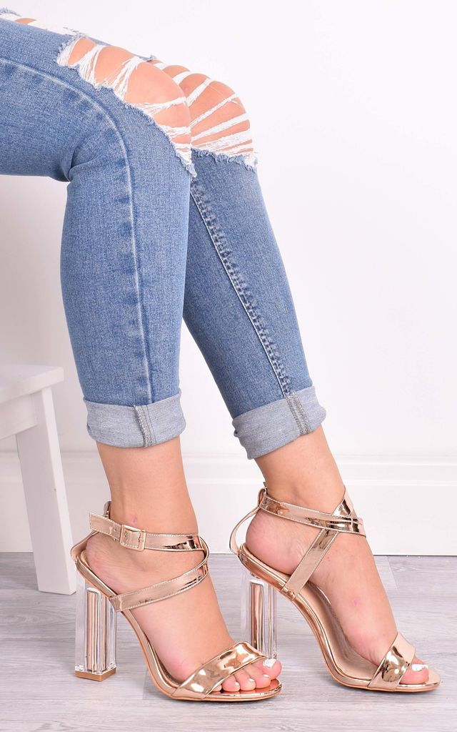 May Rose Gold Perspex Sandals by Solewish