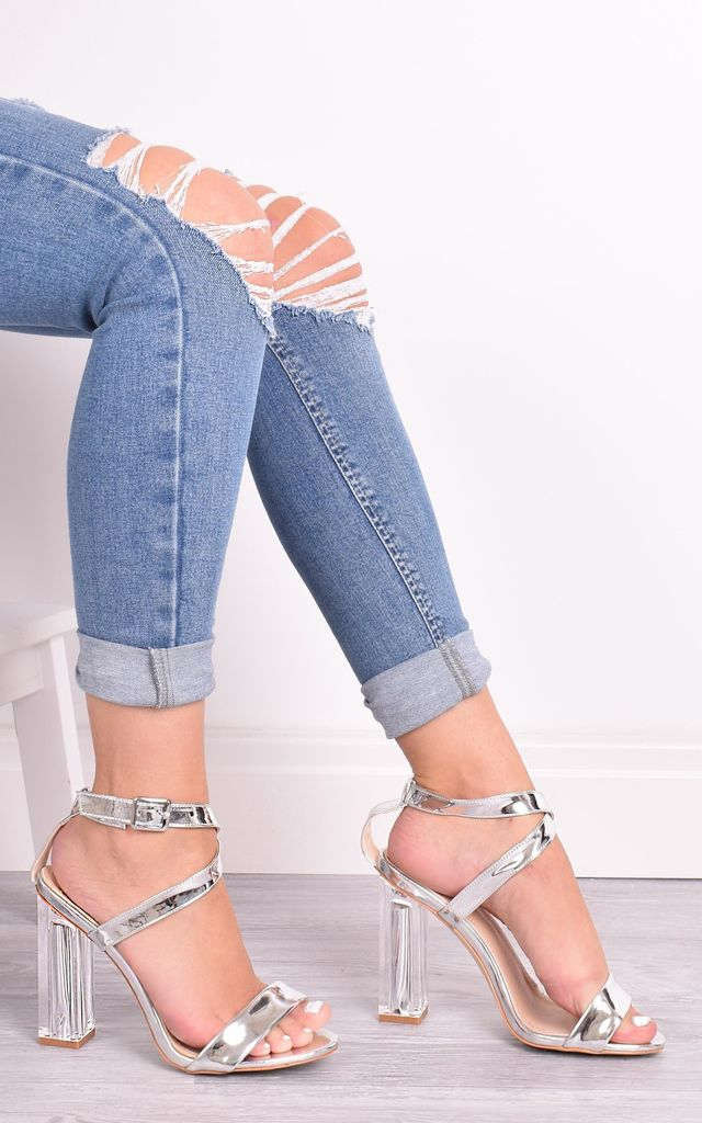 May Silver Perspex Sandals by Solewish