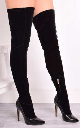 Regina Black Velvet Sock Over The Knee Boots by Solewish