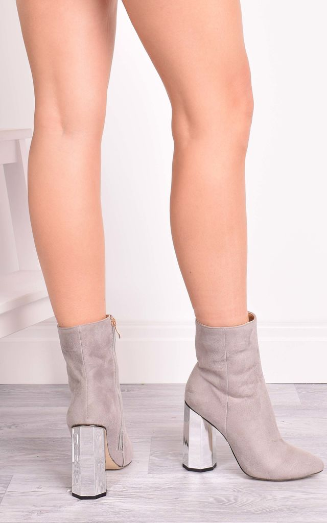 Sabrina Grey Suede Ankle Boots with Gold Statement Heel by Solewish