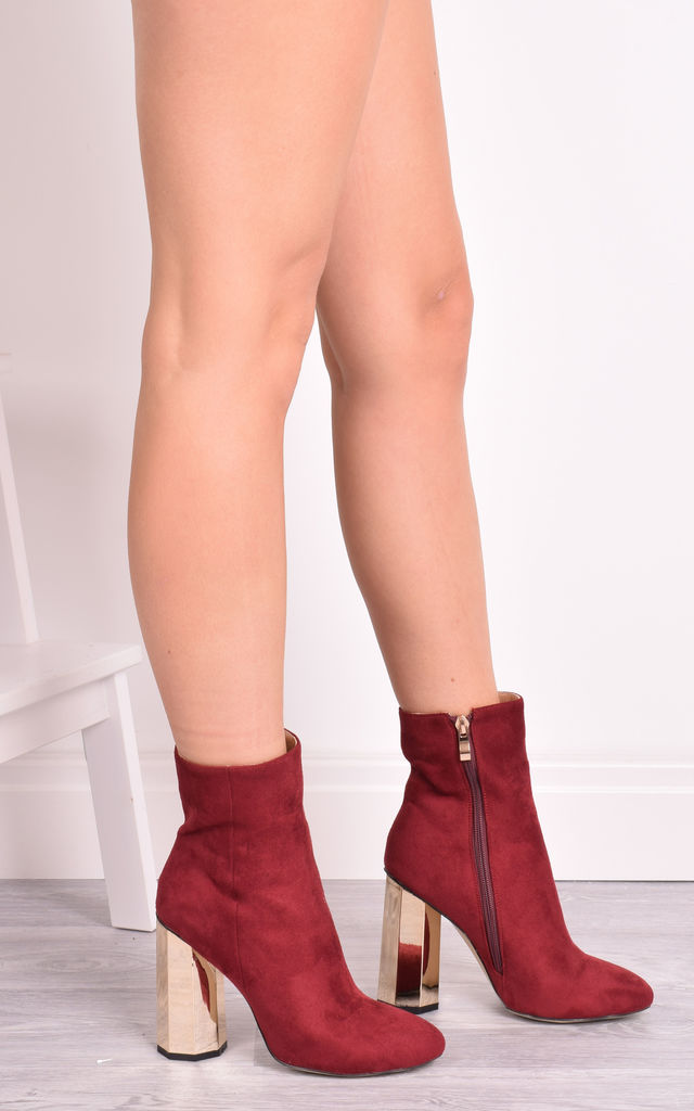 Sabrina Wine Suede Ankle Boots with Gold Statement Heel by Solewish