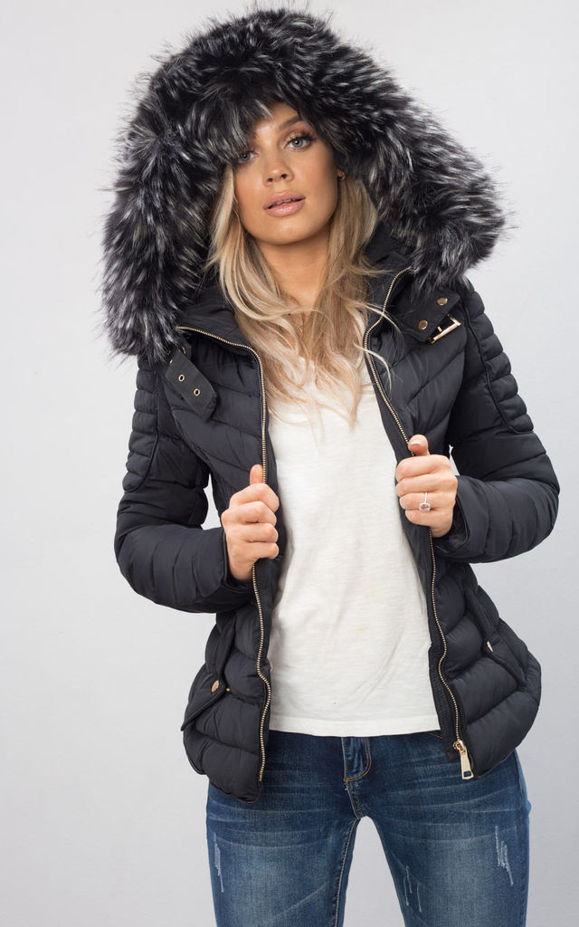 5e4e4d20a Quilted Faux Fur Hooded Padded Puffer Coat Black By LILY LULU FASHION