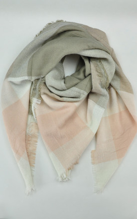 Woven scarf in pink/khaki check by GOLDKID LONDON