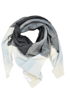 Woven scarf in white/grey check by GOLDKID LONDON