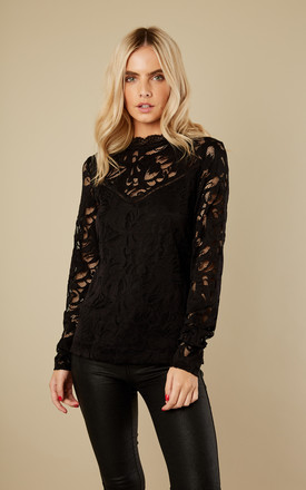 Black Lace Long Sleeve Top by VILA Product photo