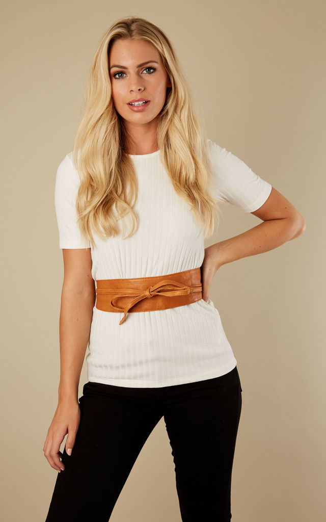 Cognac Leather Tie Waist Belt by Pieces