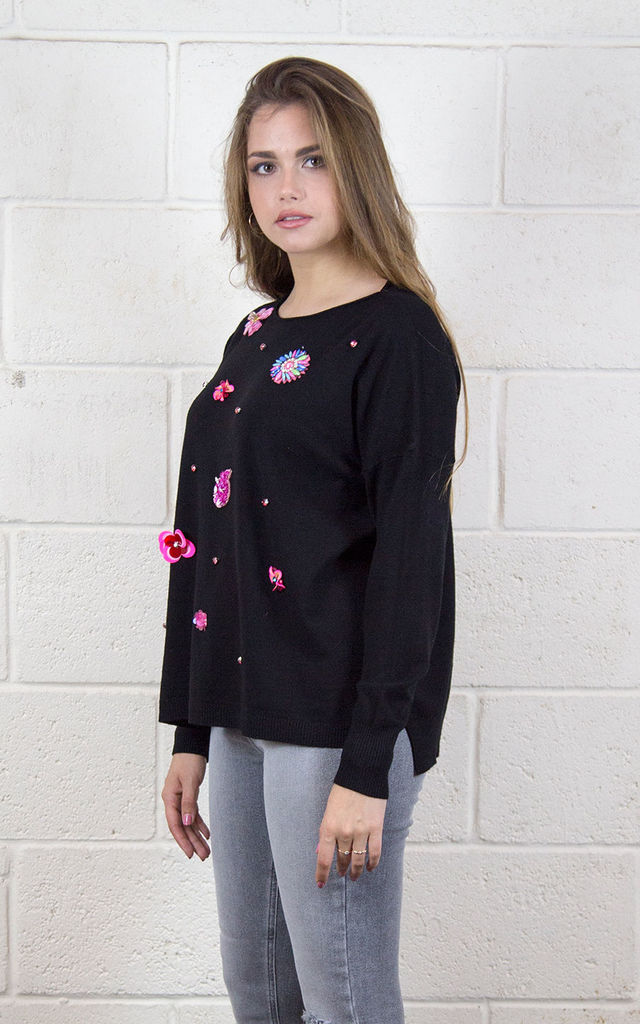 SCARLETT SOFT KNIT JUMPER TOP WITH EMBELLISHMENT ON FRONT BLACK by Lucy Sparks