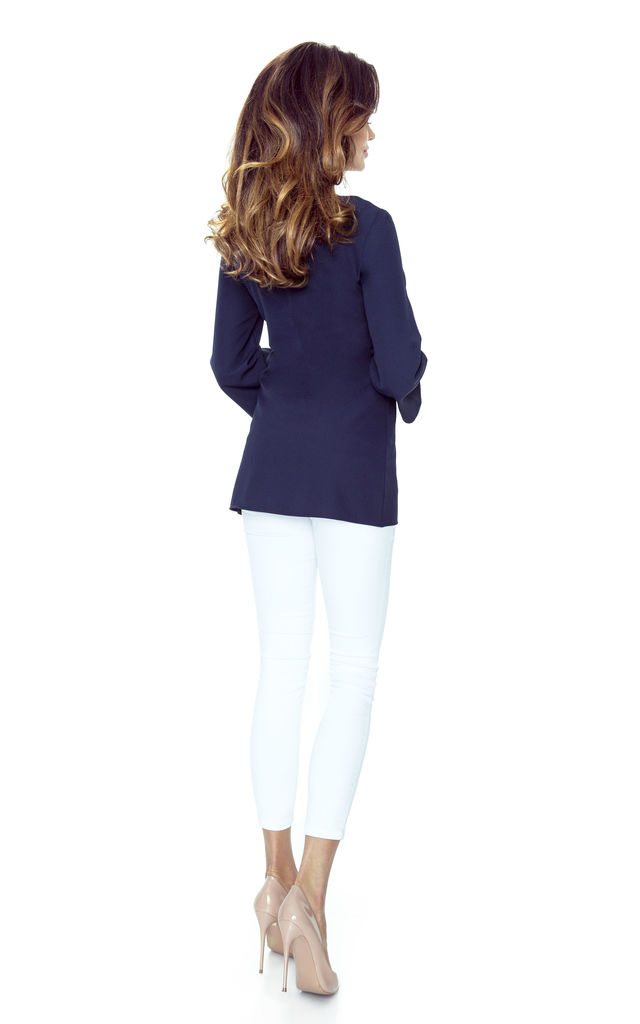 Navy Blue Asymmetric Overlap 3/4 Sleeves Top by Bergamo