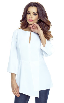 White Asymmetric Overlap 3/4 Sleeves Top by Bergamo