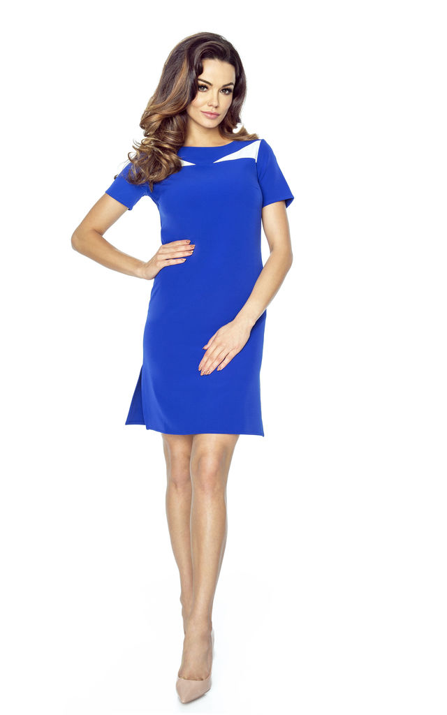 Blue Classic Short Sleeve Knee Length Dress With White Inserts by Bergamo