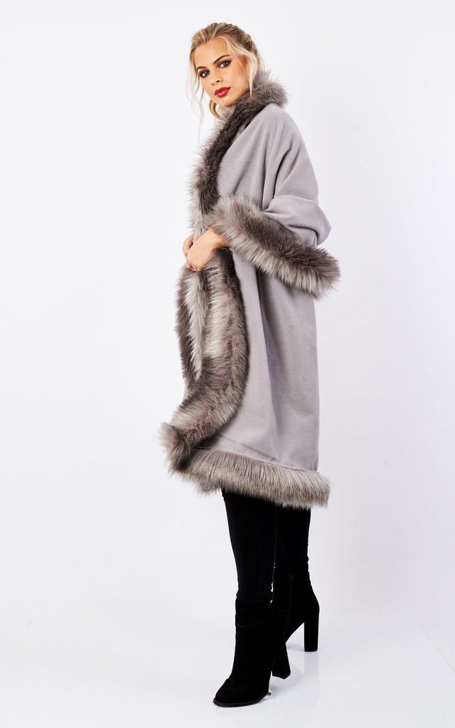 Joules Silver Over Size Faux Fur Shawl Cape by Faux England