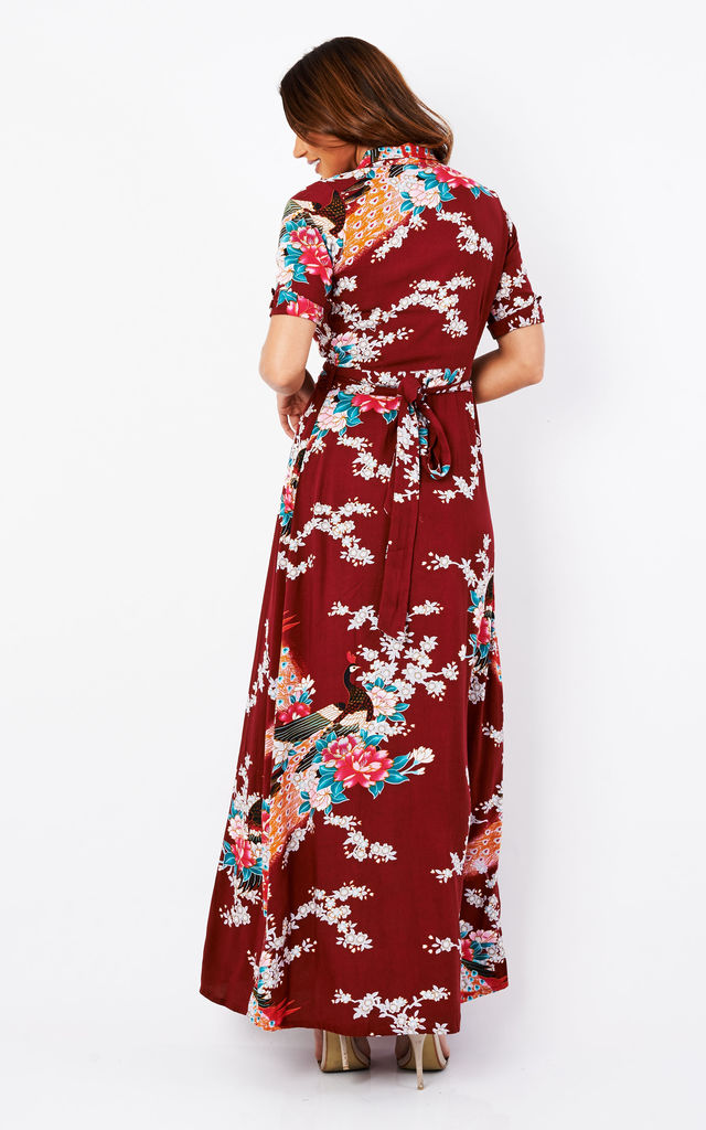 4776085441 Vintage Wrap Maxi Dress Eastern Peacock Claret by Ruby Rocks