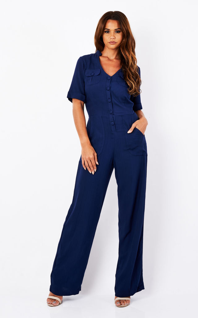 Navy Culotte Shirt Jumpsuit by Ruby Rocks