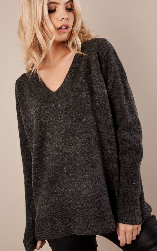 Dark grey melange V neck long sleeve knit by VILA