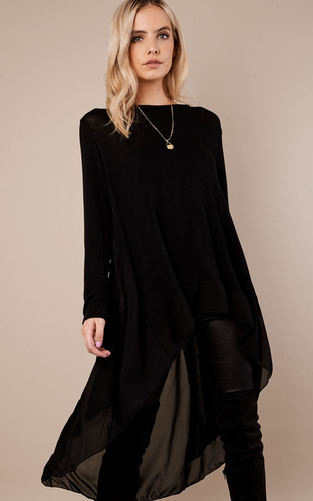 Black Chiffon Back Top by Bella and Blue