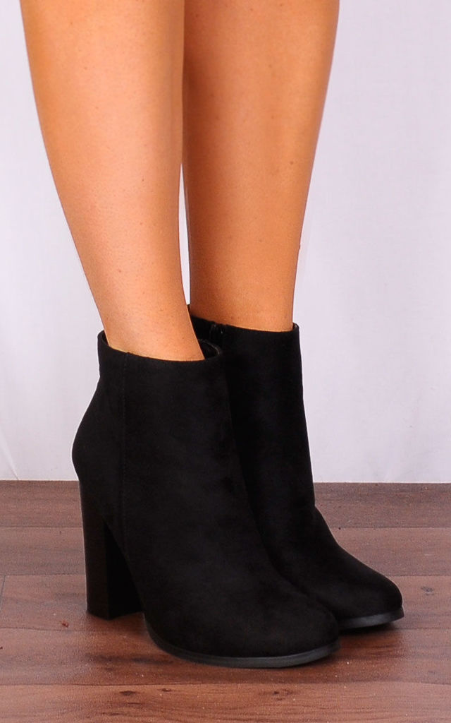 Black Faux Suede High Heels Ankle Boots by Shoe Closet