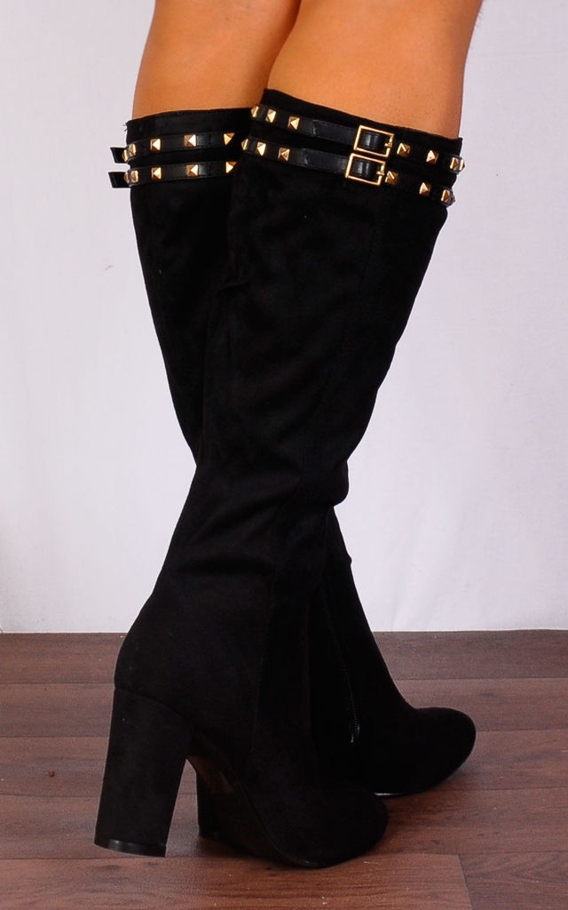 Black Gold Studded Knee High Faux Suede Boots by Shoe Closet