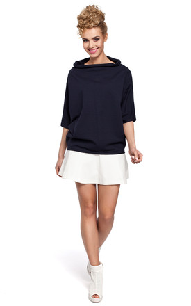 Navy blue kimono sleeve and high neck soft knit sweat sweatshirt by MOE