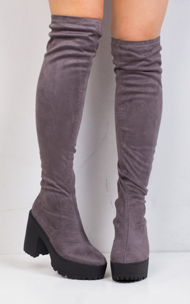 Over The Knee Cleated Sole Faux Suede Platform Boots Grey by LILY LULU FASHION