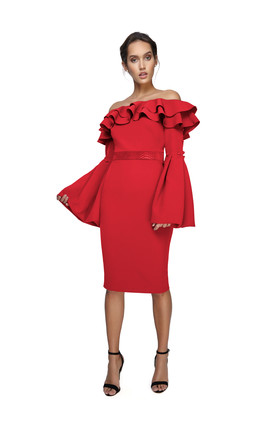 Red Sienna off shoulder midi by JOE'S JUNGLE