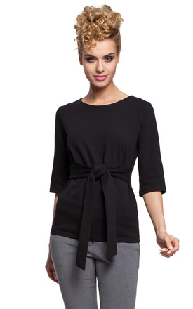 Black Cropped Sleeve Cotton Blouse With Belt by MOE