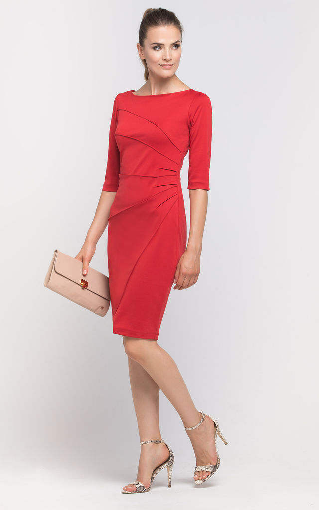 Midi Dress With 3/4 Sleeve In Pink by Lanti