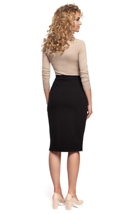 Black Soft Cotton Pencil Skirt by MOE