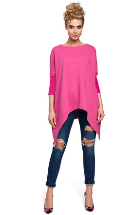 Fuchsia Poncho Cape with an Asymmetric Hem and 3/4 sleeves by MOE