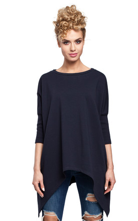 Navy Blue Poncho Cape with an Asymmetric Hem and 3/4 sleeves by MOE