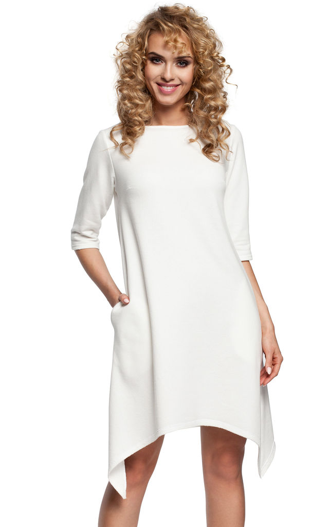White Asymmetric A-line Dress with Cropped Sleeves by MOE
