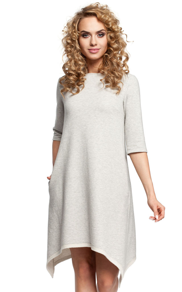 Light Grey Asymmetric A-line Dress with Cropped Sleeves by MOE