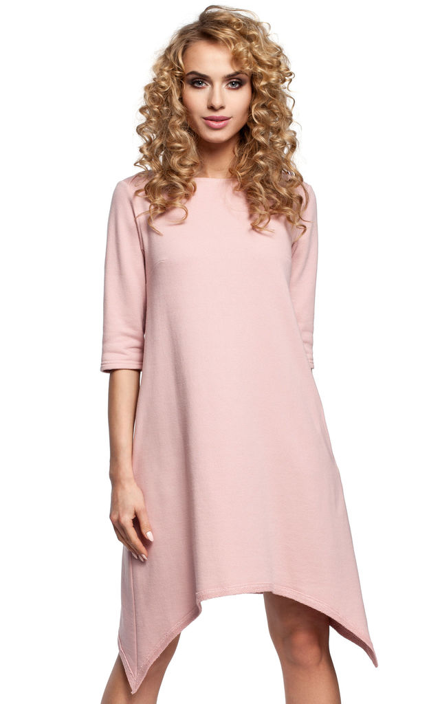 Powder Pink Simple A-line Midi Dress With An Asymmetric Bottom and Short Sleeves by MOE