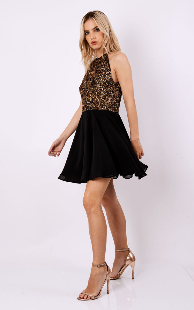 049b56a7df SHEEN Lilli Gold sequin Skater Dress in Black by Sheen Clothing