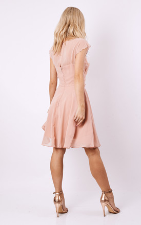 SHEEN Flower Applique skater dress in Dusky Pink by Sheen Clothing