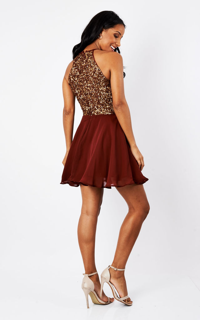 95e41aa51e SHEEN Lilli Gold sequin Skater Dress in Burgundy by Sheen Clothing