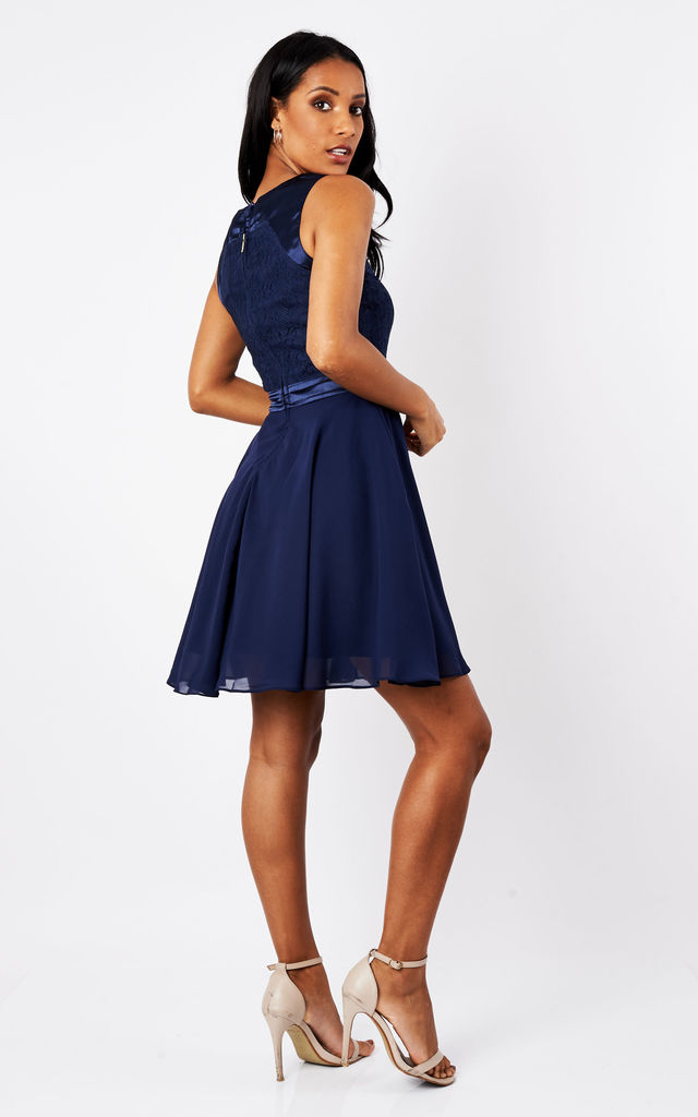 SHEEN Lace & satin detail skater dress in Navy by Sheen Clothing