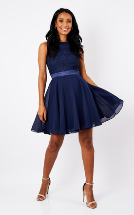 87e7c482ee4 Sheen Lace   Satin Detail Skater Dress In Navy